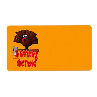 Etiqueta Acção de graças Turquia - em TUDO dê obrigados