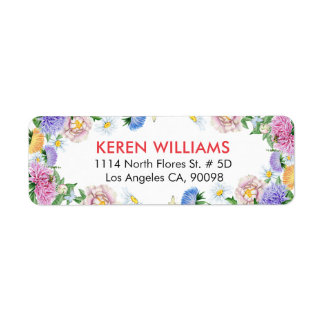 Etiqueta Aguarelas coloridas do quadro das flores