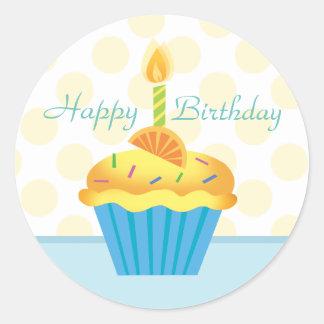 Etiqueta amarela & azul do cupcake do aniversário adesivo