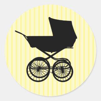 Etiqueta amarela do carrinho de bebê adesivo em formato redondo