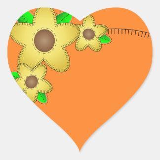 Etiqueta amarela do coração do fundo da flor adesivo coração