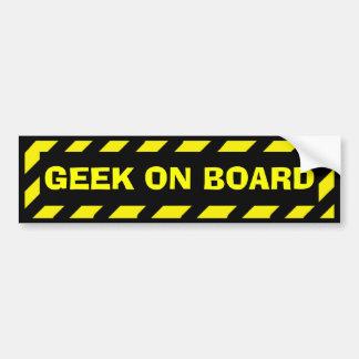 Etiqueta amarela preta do cuidado do geek a bordo adesivo para carro