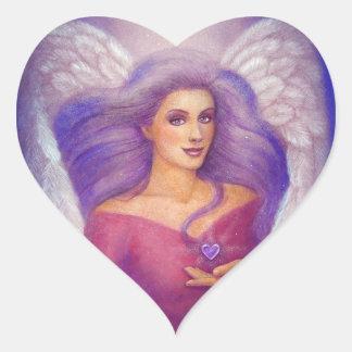 Etiqueta Amethyst do anjo do coração Adesivos Em Forma De Corações