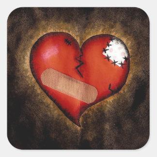 etiqueta, amor, dia dos namorados, coração adesivo em forma quadrada