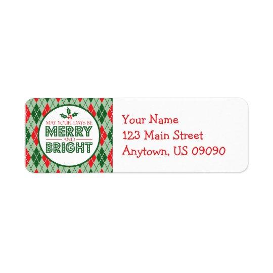 Etiqueta Argyle pode seus dias ser Natal alegre e brilhante