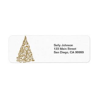 Etiqueta Árvore de Natal filigrana do ouro ornamentado