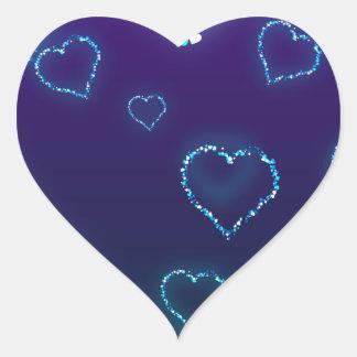 Etiqueta azul bonito do amor do coração de Bling Adesivo Coração
