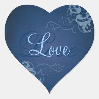 Etiqueta azul do amor do coração azul nobre do adesivo coração