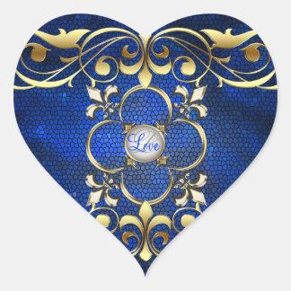 Etiqueta azul do amor do vitral do coração do adesivo de coração
