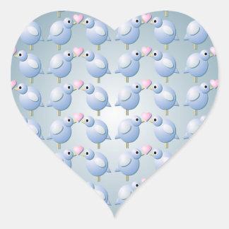 Etiqueta azul do coração dos pássaros do amor adesivos em forma de corações