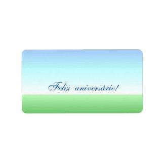 Etiqueta azul do verde português do aniversário etiqueta de endereço