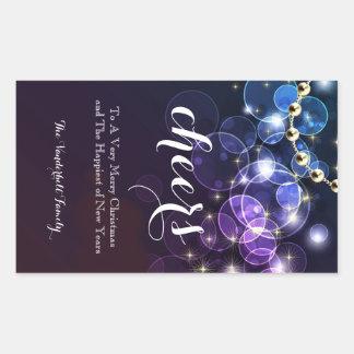 Etiqueta azul e roxa da garrafa de vinho do Natal