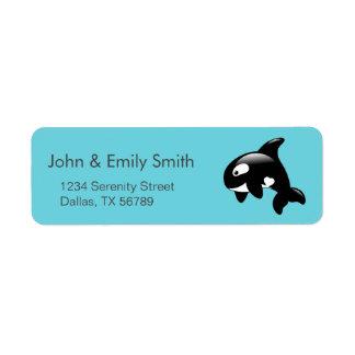 Etiqueta Baleia pequena bonito da orca no Aqua