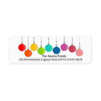 Etiqueta Baubles do Natal do arco-íris