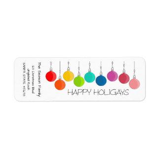 Etiqueta Baubles felizes do Natal do arco-íris de Holigays