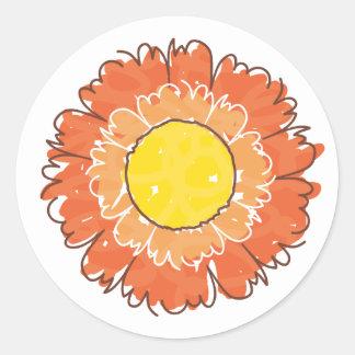 Etiqueta bonita da flor - laranja adesivo