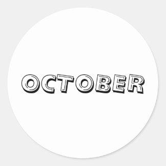 Etiqueta branca da sopa do alfabeto de outubro por