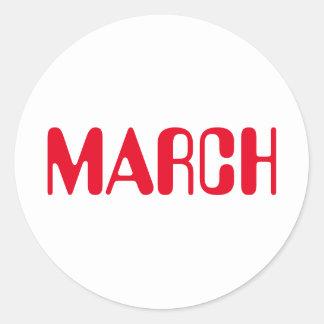 Etiqueta branca vermelha de março Amelia por Janz
