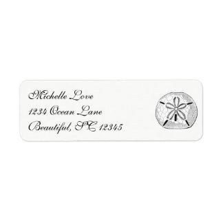 Etiqueta Branco do preto da praia do Seashell do dólar de