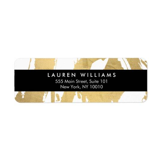 Etiqueta Brushstrokes abstratos do ouro do falso no branco