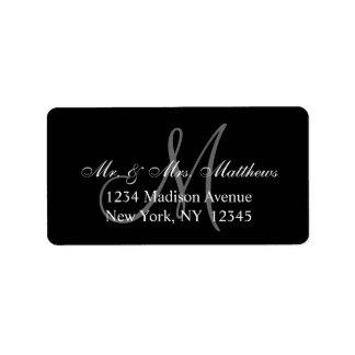 Etiqueta Casamento cinzento preto elegante do monograma