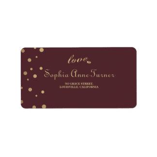 Etiqueta Casamento de Borgonha do amor dos confetes do ouro