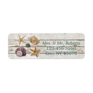 Etiqueta casamento de praia de madeira dos seashells da