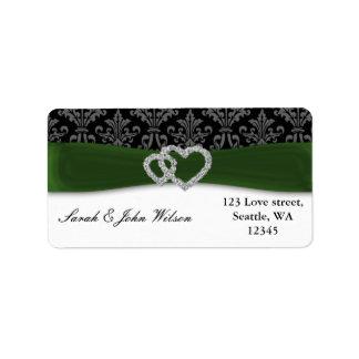 Etiqueta casamento do verde do damasco do diamante
