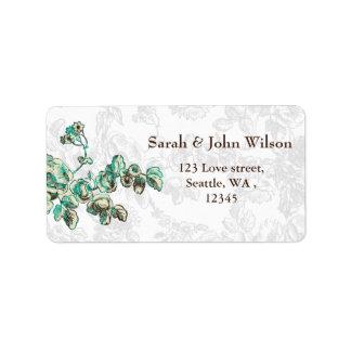 Etiqueta Casamento floral chique do vintage do marfim e da
