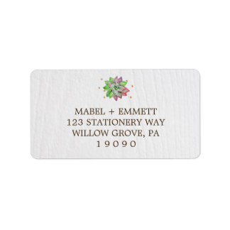 Etiqueta Casamento floral rústico cor-de-rosa de Boho e da