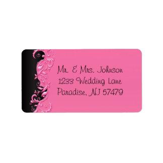 Etiqueta Casamento florido preto e cor-de-rosa elegante