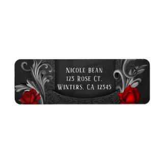 Etiqueta Casamento gótico ornamentado preto das rosas