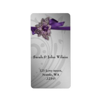 Etiqueta Casamento roxo do broche do vintage da fita do