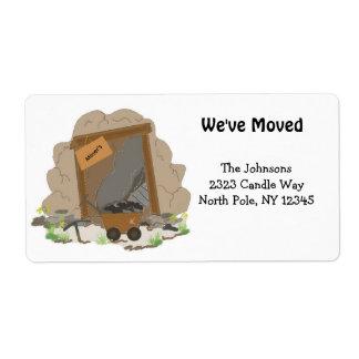 Etiqueta Caverna nova da mineração do endereço domiciliário