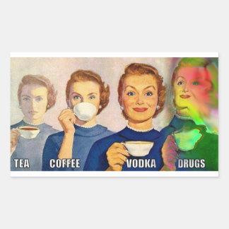 etiqueta, chá, café, vodca, drogas adesivo retangular