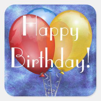 Etiqueta colorida dos balões do feliz aniversario