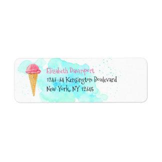 Etiqueta Cone do sorvete com um Splatter azul da pintura