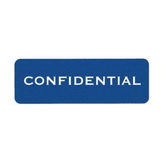 Etiqueta CONFIDENCIAL II do teste padrão azul
