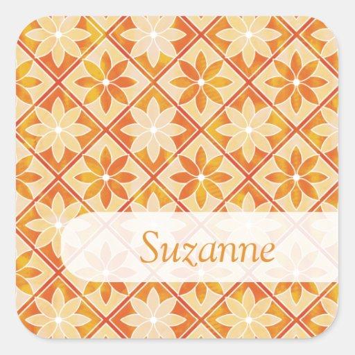 Etiqueta conhecida dos azulejos florais adesivo quadrado