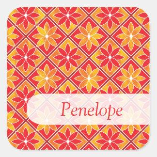 Etiqueta conhecida dos azulejos florais decorativo adesivo quadrado