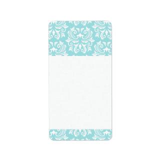 Etiqueta Cor damasco branca azul do aqua pálido ornamentado