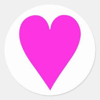 Etiqueta cor-de-rosa do coração adesivo