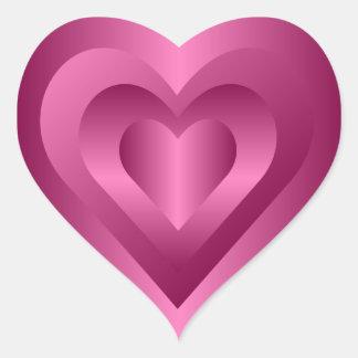 Etiqueta cor-de-rosa do coração adesivo de coração