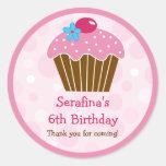 Etiqueta cor-de-rosa do presente de aniversário do adesivo redondo