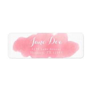 Etiqueta cor-de-rosa do retorno da aguarela