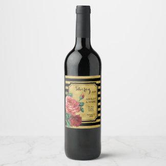 Etiqueta cor-de-rosa JoSunshine do vinho da flor