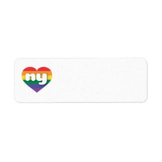 Etiqueta Coração do arco-íris do orgulho gay de New York -