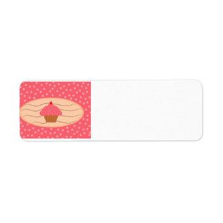 Etiqueta Cupcake cor-de-rosa com bolinhas