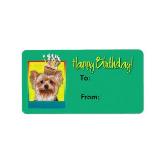 Etiqueta Cupcake do aniversário - yorkshire terrier