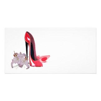 Etiqueta da arte dos calçados do estilete cartão com foto